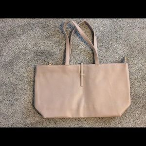 Blush tote with gold zipper